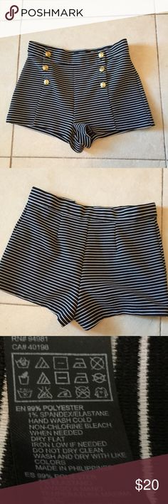 Forever 21 high waisted stripe shorts size small Beautiful stripe shorts for those warm days. Navy Blue and white in color. Forever 21 Shorts