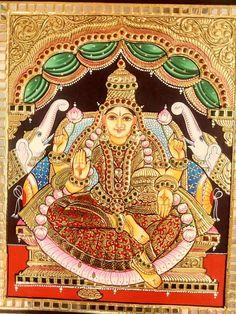 Medium Tanjore painting of Gajalakshmi by TheVintageHikes on Etsy