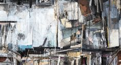 """SETH CLARK: Pile VI (detail)  36"""" x 48"""" Collage, Charcoal, Pastel, Acrylic, Graphite on Wood"""