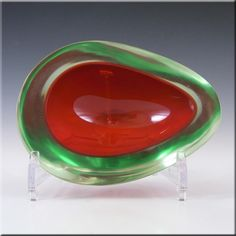 Murano/Sommerso Red & Green Cased Glass Geode Bowl - £30.00