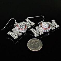 Sports Theme Baseball Mom' Crystal Earring E1370RCR-in Drop Earrings from Jewelry on Aliexpress.com