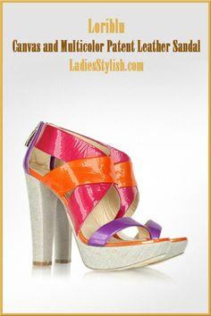 Canvas and Multicolor Patent Leather Sandal... http://ladiesstylish.com/designers/loriblu/shoes.html #LadiesStylish #Designer #Shoes
