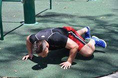 Spiderman Push Up. Step Three: As you lower your body to the ground bring one knee up and try and touch your elbow with it.