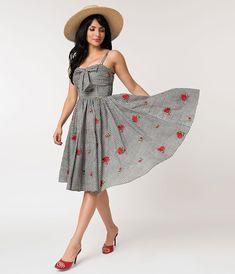 3678f9921dde Unique Vintage 1950s Black & White Gingham Roses Print Golightly Swing Dress  Modern 50s Fashion