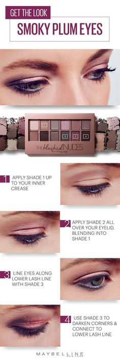 This romantic smoky plum eyeshadow look is perfect for any Valentine's Day event. First, apply shade 1 up to your inner crease. Next, apply shade 2 all over your lid, blending into the first shade. Then, line eyes along the lower lash line with shade 3. And to finish the look, use shade 3 to darken corners and connect to the lower lash line for a smokey effect.