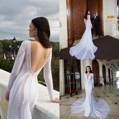 Wedding Gown 2015 Mermaid Wedding Dresses With Long Sleeves V Neck Appliqued Chiffon Dimitrius Dalia Sexy Bridal Gowns With Open Back And Chapel Train Wedding Dress Mermaid Lace From Nicedressonline, $238.54| Dhgate.Com