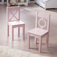 Lipper Childrens Pink Chairs - Set of 2 - Kids Traditional Chairs at Hayneedle
