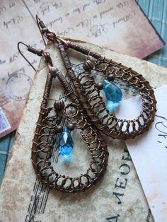 Wire Wrap Copper  Filigree Carribean blue Teardrop by Lirimaer, $32.00