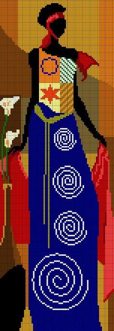 Aquí está el segundo patrón de las mujeres africanas a punto de cruz. La primera entrada sobre estos cuadros la podéis ver aquí .       ...