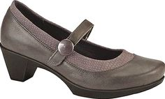 Naot Shoes - The Latest from Naot's Supreme Collection is a Mary Jane has a hook-and-loop strap with a button accent and contrast-color trim. - #naotshoes #grayshoes