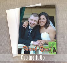 Wedding Thank You Cards, Photo Card, Custom, Customized, Personalized, Picture Collage, Sports Theme, Bridal Shower, Holiday, Gifts