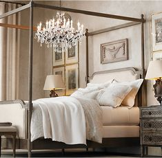 """The bed, bedding and chandelier. 19th C. Rococo Iron & Clear Crystal Round Chandelier 32"""""""