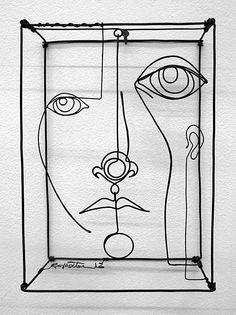 Diane Komater at Mowen Solinsky Gallery wire work portrait art installation calder style