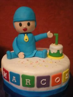 Tarta de Pocoyo para celebrar su primer añito!!