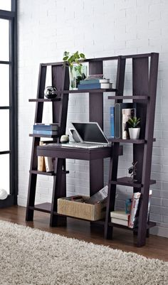 Ladder Bookcase with Desk // combines a desk, pull-out drawer and storage shelves in one space-saving design - clever! | furniture design