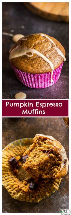 Pumpkin Espresso Muffins topped with a coffee glaze are the perfect way to start your mornings. Pair with a cup of coffee for a delicious fall treat! Find the recipe on www.cookwithmanali.com