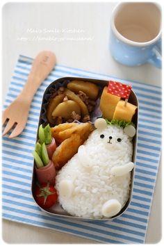 Adorable chubby polar bear onigiri bento box – Trends Pins Home Bento Box Lunch For Kids, Cute Bento Boxes, Lunch Box Ideas, Japanese Bento Box, Japanese Food, Lunch Box Recipes, Tahini, Cute Food, Asian Recipes