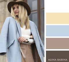 COLORS : My blue coat, beige or dusky rose trousers (or maybe suede skirt?) , my furl black & pale yellow bag Colour Combinations Fashion, Color Combinations For Clothes, Fashion Colours, Colorful Fashion, Color Combos, Light Blue Color, Beige Color, Inspiration Mode, Color Inspiration