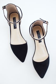 black pointy suede d'orsay leather flats with gold ankle strap