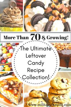 The Ultimate Leftover Candy Recipe Collection! With over 70 recipes you are sure to find ways to use left over candy in ways you did not imagine! From pies to ice cream to drinks, these recipes will blow your mind! Candy Recipes, Holiday Recipes, Great Recipes, Yummy Recipes, Recetas Salvadorenas, Good Food, Yummy Food, Recipe Collection, Diy For Kids