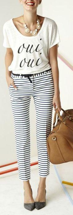 Calça alfaiataria, scarpin, listras, preto e branco,  bolsa caramelo