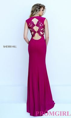 Image of floor length lace Sherri Hill embroidered open back gown Detail Image 2