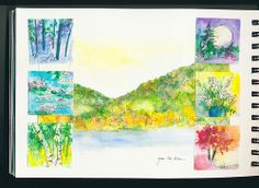 Featured in Art Journaling Spring 2014. #artjournaling #watercolor #stitch #thumbnailsketch #landscape #mixedmedia