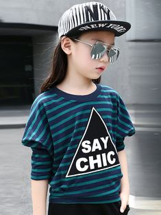 Girl's Batwing Sleeve Striped Letter Print T-Shirt #shoes, #jewelry, #women, #men, #hats, #watches, #belts