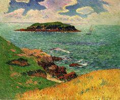 """Henri Moret (1856-1913, France) ~ """"Port-Louis, île aux Souris"""", Morbihan, Bretagne ~ Huile sur Toile 1895"""