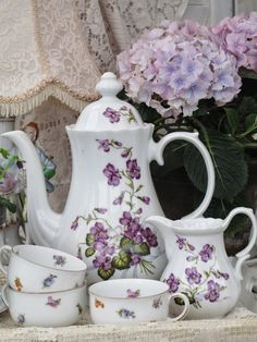 Tea Time (love the dainty violets) ~