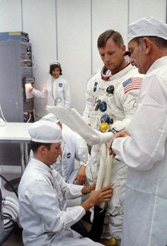 Neil Armstrong suiting up on July 16, 1969.