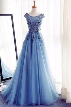 Sky blue organza lace applique round neck A-line evening dresses,formal dress