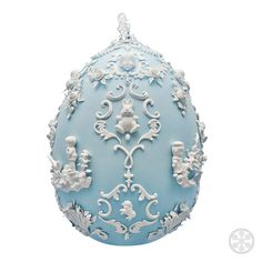 """Egg created by Beth Katleman for the 2014 Fabergé big-egg hunt. Made of """"over 600 handmade porcelain flowers, pearls, bunnies and cast flea-market treasures."""" """"I've always loved the fancy sugar Easter eggs with little bunnies inside,"""" Katleman said. Egg Crafts, Easter Crafts, Fabrege Eggs, Egg Art, Paperclay, Egg Decorating, Egg Shells, Easter Eggs, Christmas Bulbs"""