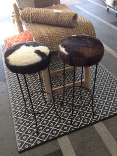 Cow hide bar stools