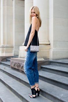 boyfriend jeans, Saint Laurent bag, Steven cuffed sandals