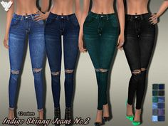 Indigo Skinny Jeans No.02 by Pinkzombiecupcakes at TSR via Sims 4 Updates