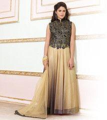 Black & Light Golden Color Shimmer Net Semi-stitched Designer Gown For Wedding : Rajkumari Collection YF-33388