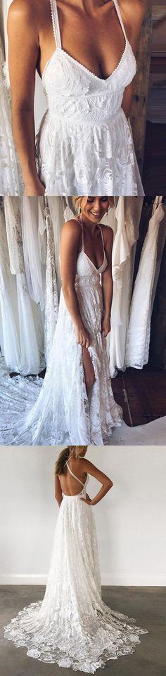 A-Line Straps Backless Court Train Lace Beach Wedding Dress WD108 #weddingdress #lace #dress #wedding #pgmdress #fashion