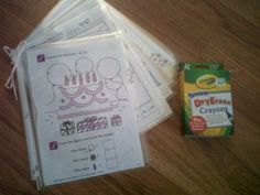 Homemade dry erase coloring and activity pages :) Perfect for traveling or just when on-the-go! Simply tear pages out of coloring and/or activity books and slide them into page protectors (I suggest the heavier duty ones,  you can get 50 for under 4 dollars at Wal-Mart!) and tie a pretty ribbon at the top or use a key ring. Dry Erase  crayons are available at any store with crayons :) Easy to change out the pages after a few uses! Preschool Activities, Kid Activites, Vacation Trips, Vacation Ideas, Page Protectors, Activity Books, Operation Christmas, Make Your Own, How To Make