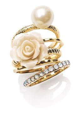 Ariella Collection Flower & Faux Pearl Stack Rings (Set of 5) (Nordstrom Exclusive) available at Nordstrom Item #518040. |  Complimenting Faux Pearl Bracelet w/ Gold Bow Embellishment