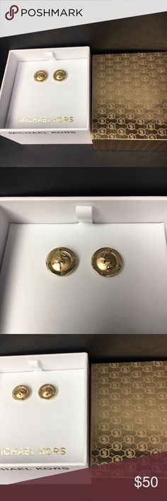 NWT MICHAEL KORS Gold Earrings - NWT MICHAEL KORS Earring Studs  - Gold monogrammed stud earrings   - 100% GUARANTEED AUTHENTIC   - NEW WITH TAGS AND IN ORIGINAL BOX. Michael Kors Jewelry Earrings