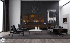 Modern Living Room with Black Interior Decor Ideas