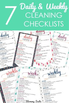 I love these free printable daily and weekly cleaning checklists! These are awesome to laminate and stick inside a cabinet or on a cleaning caddy!