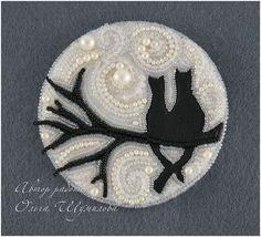 """Handmade brooches. Fair Masters - handmade brooch """"in love."""" Lunar cat. Handmade."""