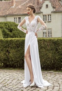 Sexy White Beach Wedding Dresses 2015 Lace Prom Gowns With Applique Split Front Sheer Illusion Long Sleeves V Neck Zip Back Chiffon Evening Online with $73.3/Piece on Newfashion2014's Store | DHgate.com