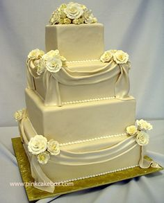 Good & plain, buttercream wedding cake.  The kind where even the icing flowers taste good.