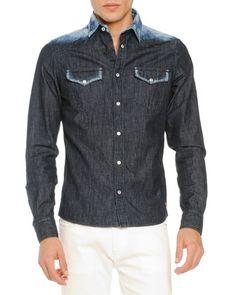 Bleached-Shoulder Denim Shirt, Navy  by Tomas Maier at Bergdorf Goodman.