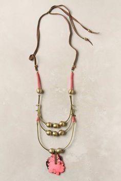 Anthropologie Elsa Slab necklace: De Petra, brass, magnasite slice, vinyl, leather (94cm, 8 cm pendant) €462.00