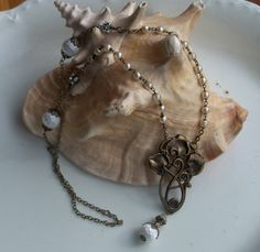 Art Nouveau Assemblage Necklace with Rosary Pearl by Kurstyn, $120.00