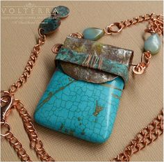 Turquoise Jasper with Hand Forged Copper Bail by SunStones on Etsy, $39.00